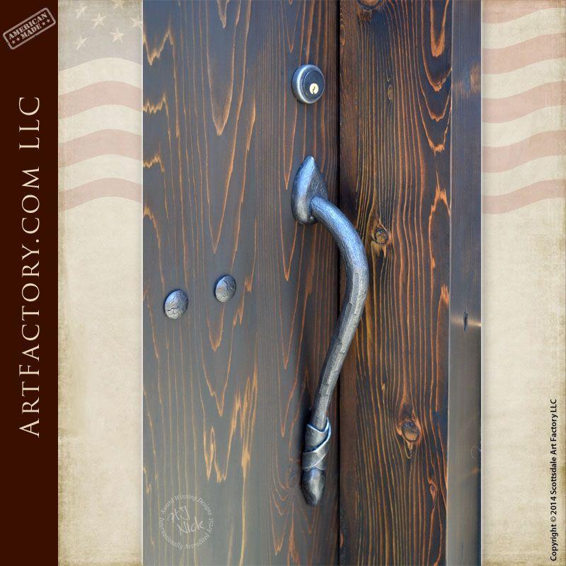 Custom Wrought Iron Door Pull Custom Designed Wrought Iron Handles Hh421 Wrought Iron Doors Iron Doors Door Handles