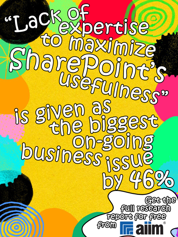 The biggest on-going business issue with SharePoint? Lack of expertise to maximize SharePoint's usefulness. Get a ton of additional useful information about SharePoint in the latest AIIM SharePoint Research Report, available for free at http://aiim.org/sp