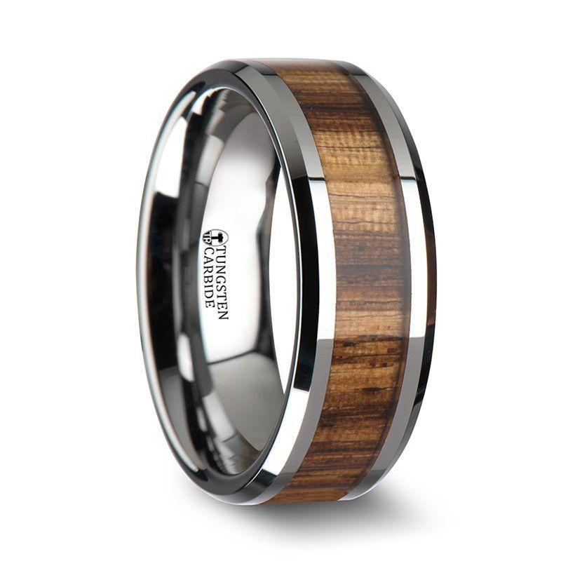 Black Ceramic Wedding Ring with Real Black Walnut Wood Inlay and Polished Beveled Edges 10mm Band