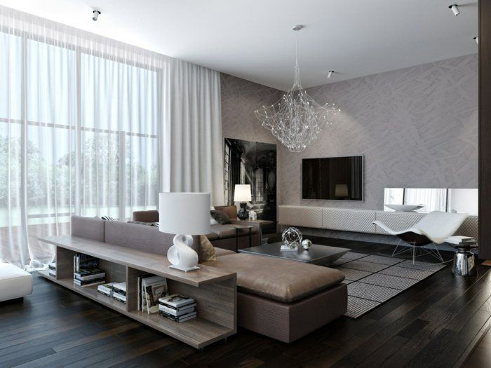Schöne Wohnzimmer ~ Wohnzimmer grautoene modern regale hinter sofa hausideen
