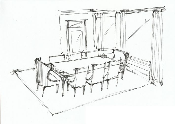 dining room perspective sketch | dining rooms | pinterest