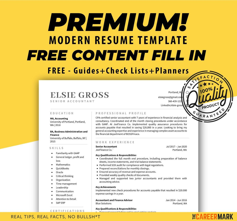 Accountant resume template modern resume simple resume