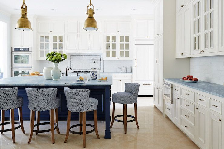 Navy Blue Kitchen Island, Cottage, Kitchen, Andrew Howard
