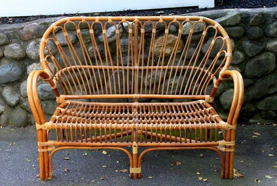 Vintage Franco Albini Style Rattan Settee Loveseat Bench Sofa
