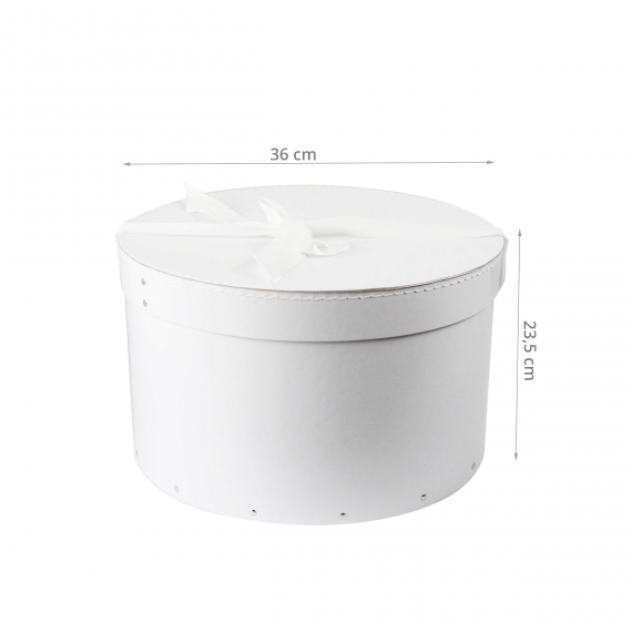 grande bo te chapeau blanche avec ruban blanc l. Black Bedroom Furniture Sets. Home Design Ideas