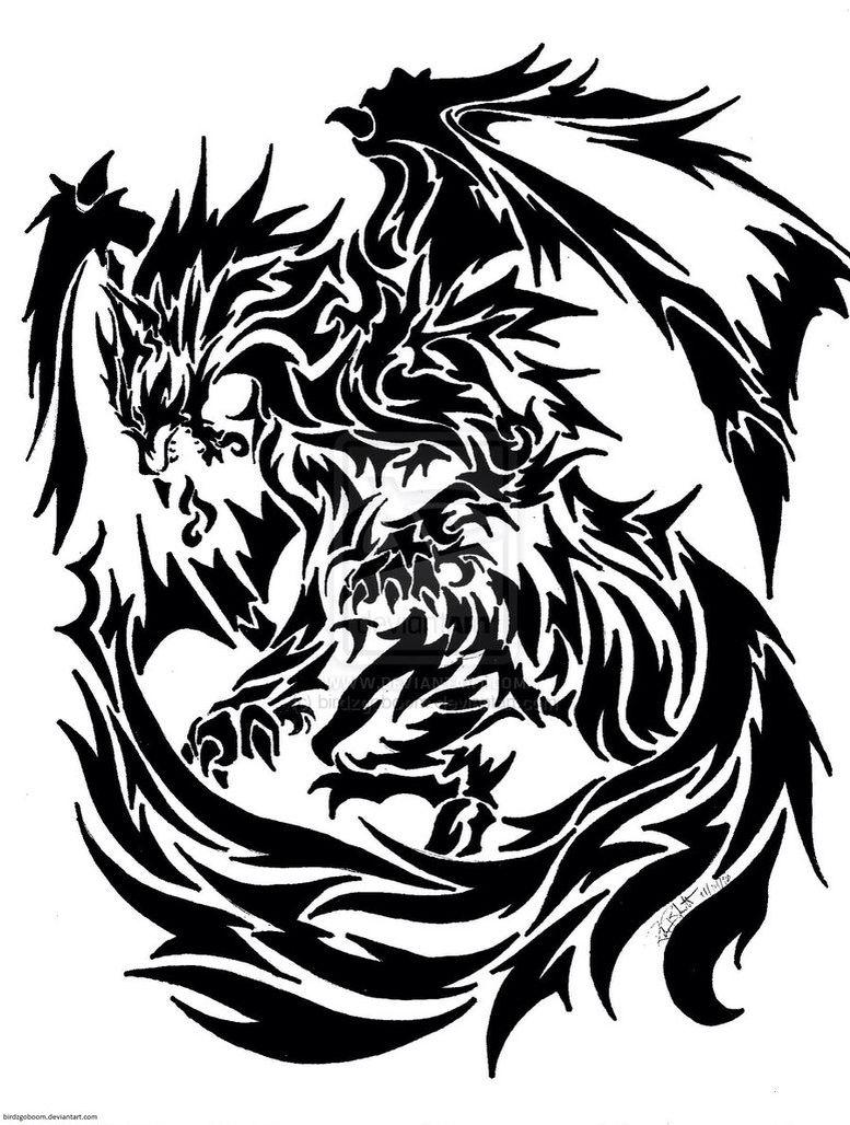 Wolf Dragon Tattoo Tribal Dragon Tattoos Tribal Tattoo Designs Tribal Drawings