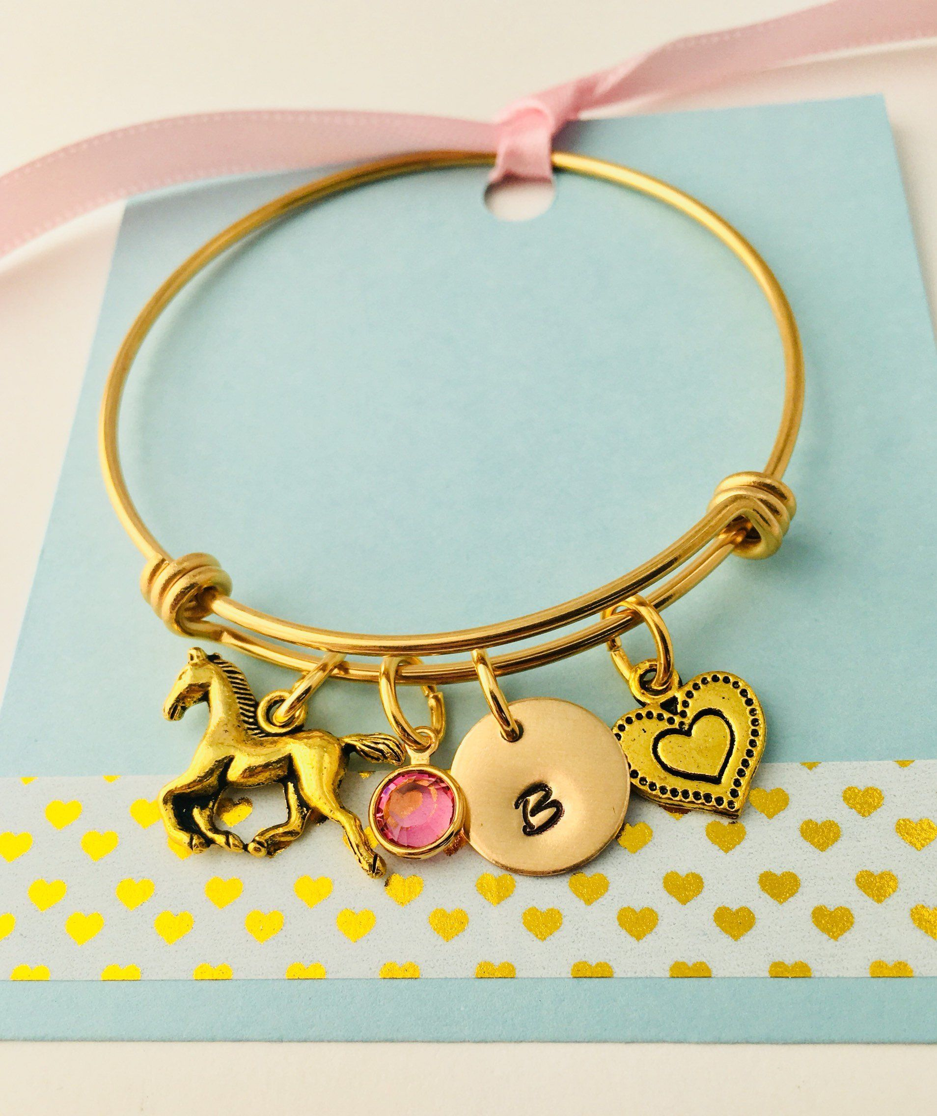 Personalized gold horse bracelet horse jewelry little girls