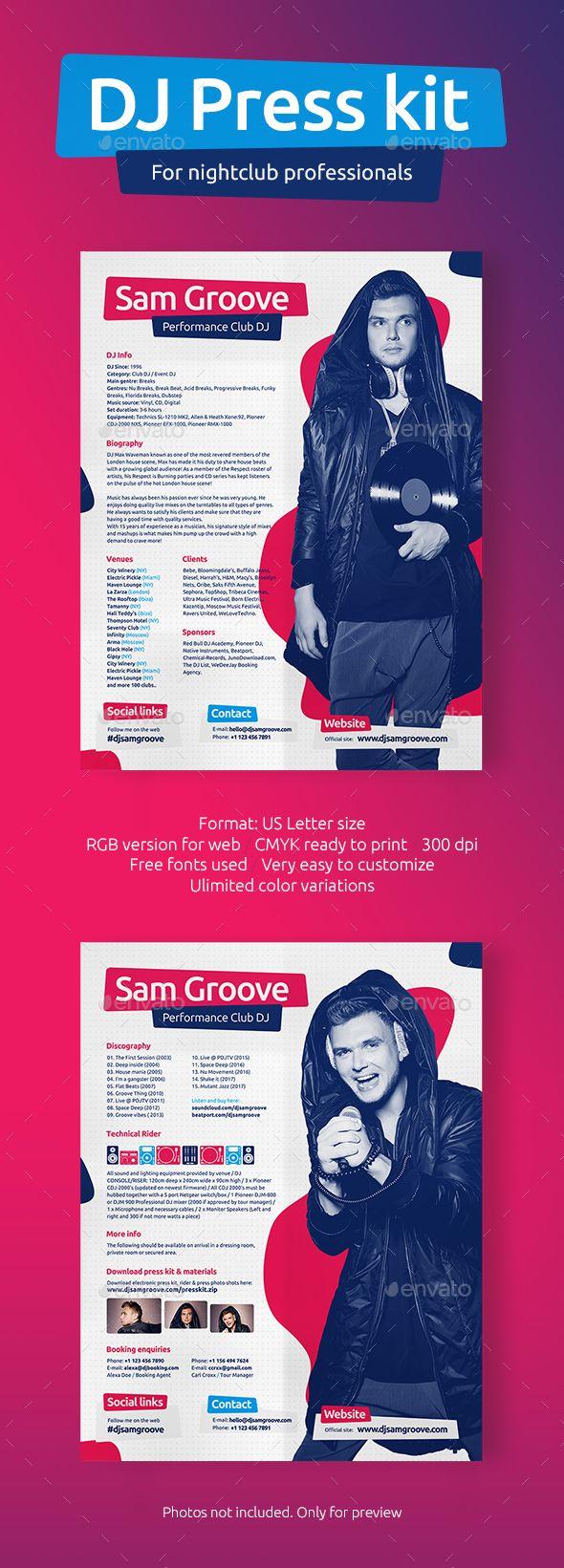 DJ Press Kit / DJ Resume / DJ Rider PSD Template #producer #promo dj ...