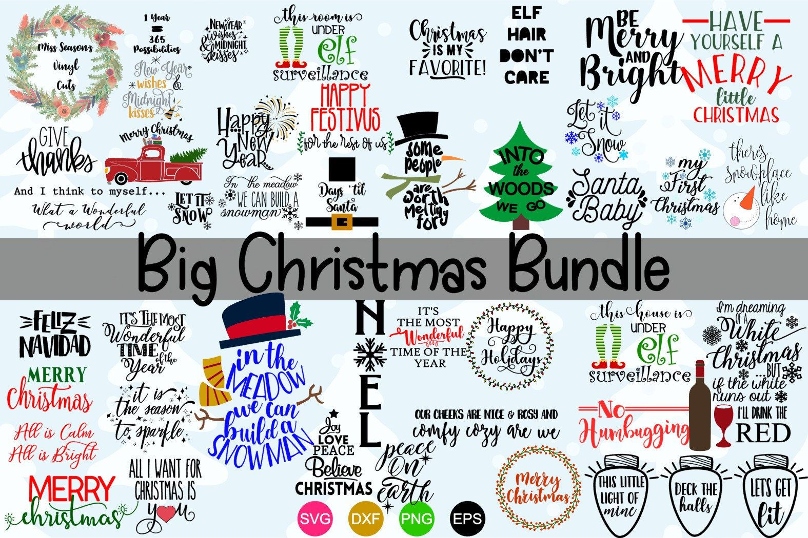 Huge Christmas Bundle Svg Dxf Eps Png 50 Christmas Svg Digital File Only Commercial And Personal Use S Christmas Bundle Happy Festivus Christmas Svg