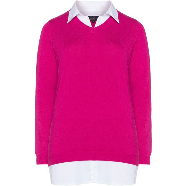 Zhenzi Pink / White Plus Size 2-in-1 collared shirt jumper (480 ...