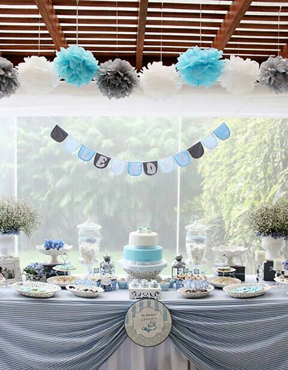 Amazon Com First Birthday Boy Decorations Baby Blue White Grey