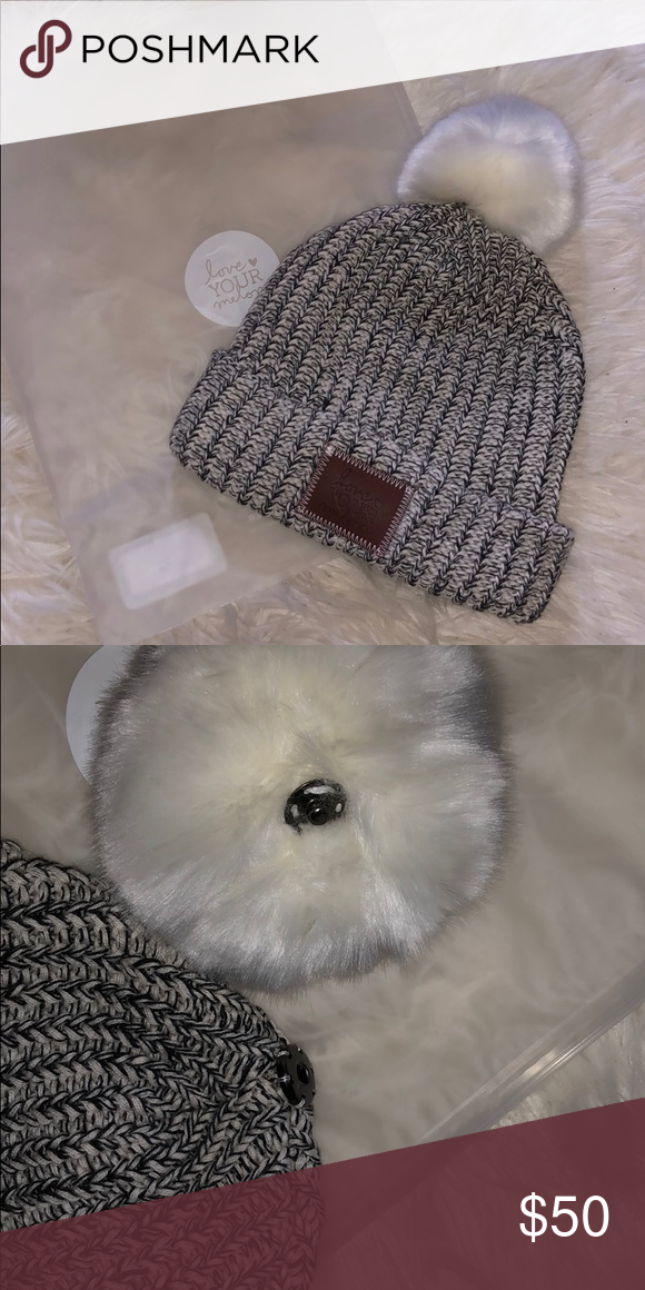 ❗️NWT ❗️Black and White Speckled Pom Beanie • Love your melon black and white  speckled pom beanie. • White Pom. • Brown LYM stitched tag. 347d05b16d31