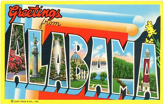 Alabama Large Letter Vintage Postcard (unused) in 2019
