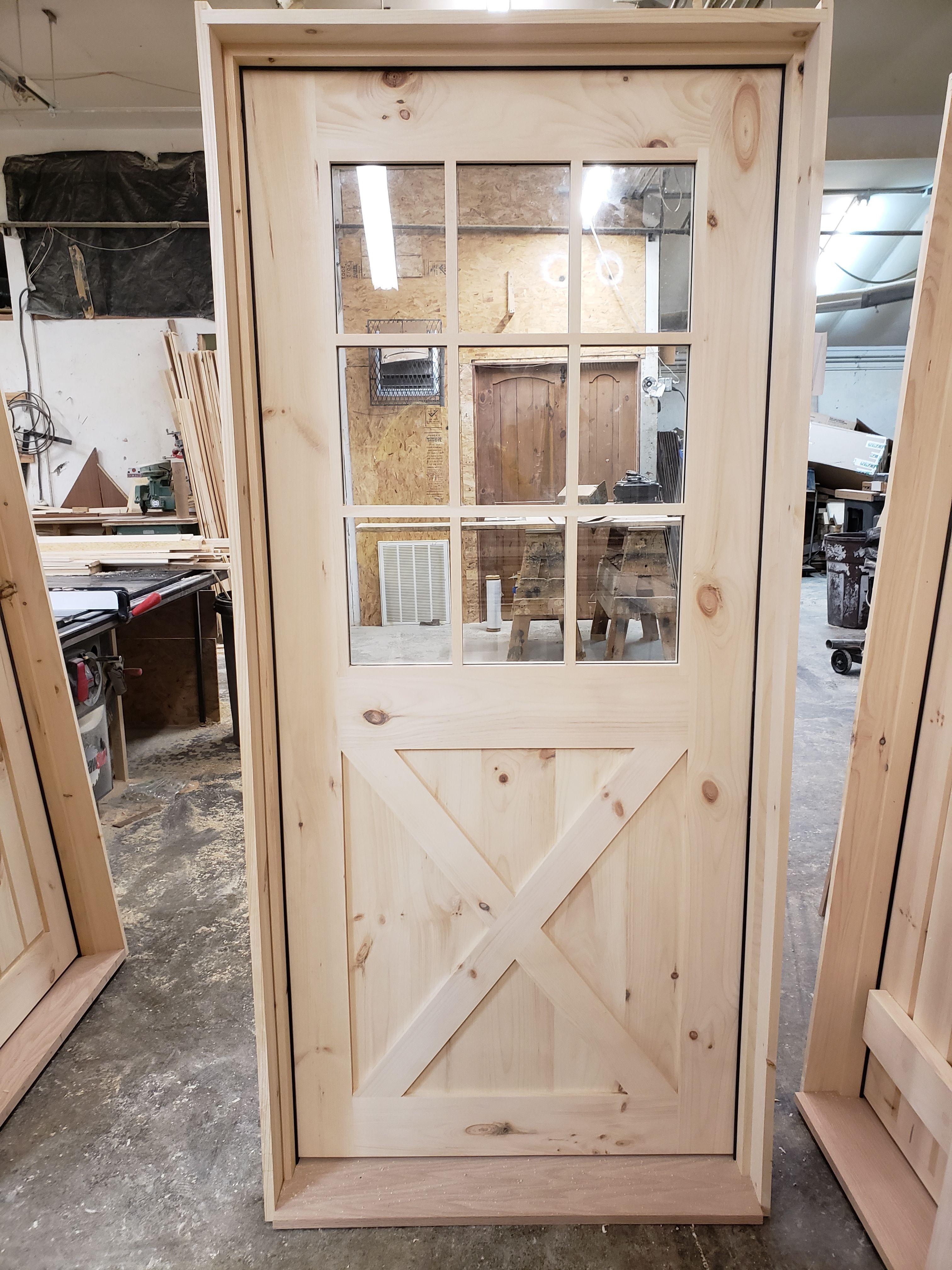 Exterior 9 Lite Pine Door With Decorative Cross Buck Call Today For A Free Quote 518 745 4066 Or Visit Our Websit Farmhouse Doors Custom Wood Doors Pine Doors
