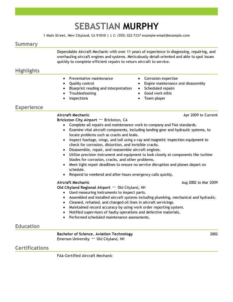 A P Mechanic Resume Examples - Resume Examples  Aircraft