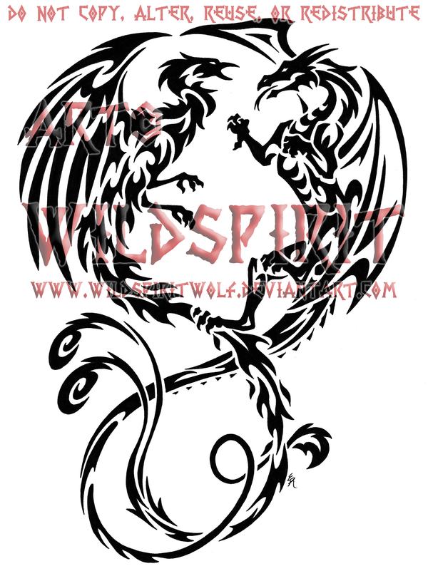 Tribal Dragon And Phoenix By Wildspiritwolf On Deviantart Tribal Dragon Tattoos Phoenix Tattoo Tribal Animal Tattoos
