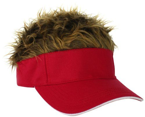 3b33ee117eb Funny Red Visor w Hair Hat
