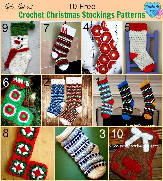 10 Free Crochet Christmas Stockings Patterns | Navidad, Crochet ...