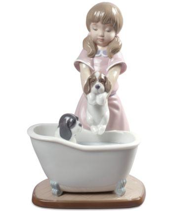 Lladro Bathing My Puppies Figurine Porcelain Dolls Value