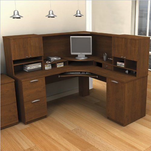 Bestar Elite Corner Desk And Hutch Office Set In Tuscany Brown By 1309 64 Includes Workstation Bookcase Cabinet