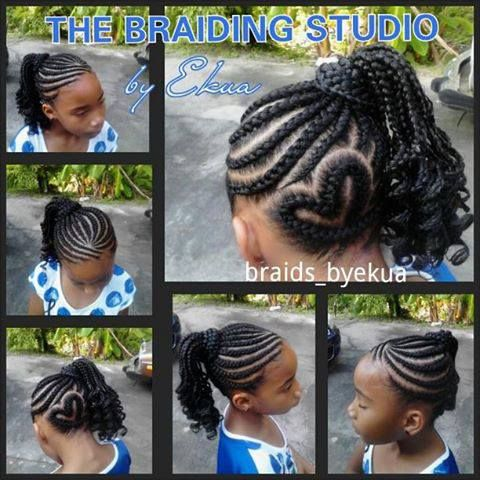 Side back heart cornrow design and ponytail | Heart/Star ...