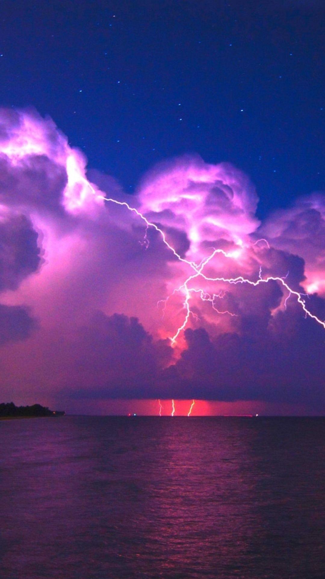 1080x1920 Wallpaper lightning, elements, coast, night