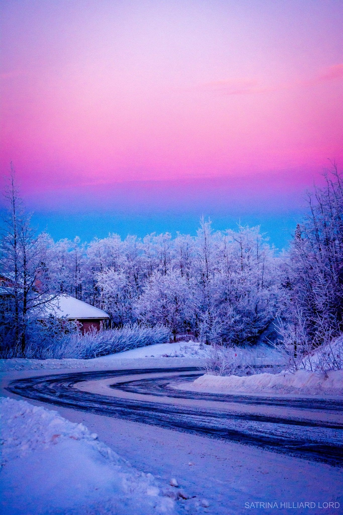 This image shows colors of a winter sky The mixing of colors in the
