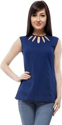 dcce81d8183 PrettyPataka Casual Sleeveless Solid Women's Blue Top - Buy Blue  PrettyPataka Casual Sleeveless Solid Women's Blue Top Online at Best Prices  in India ...