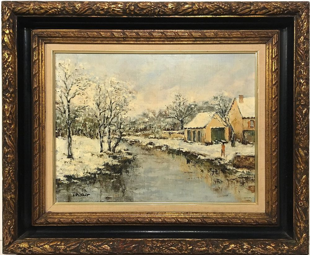 LOUIS PEYRAT French Impressionist WINTER LANDSCAPE