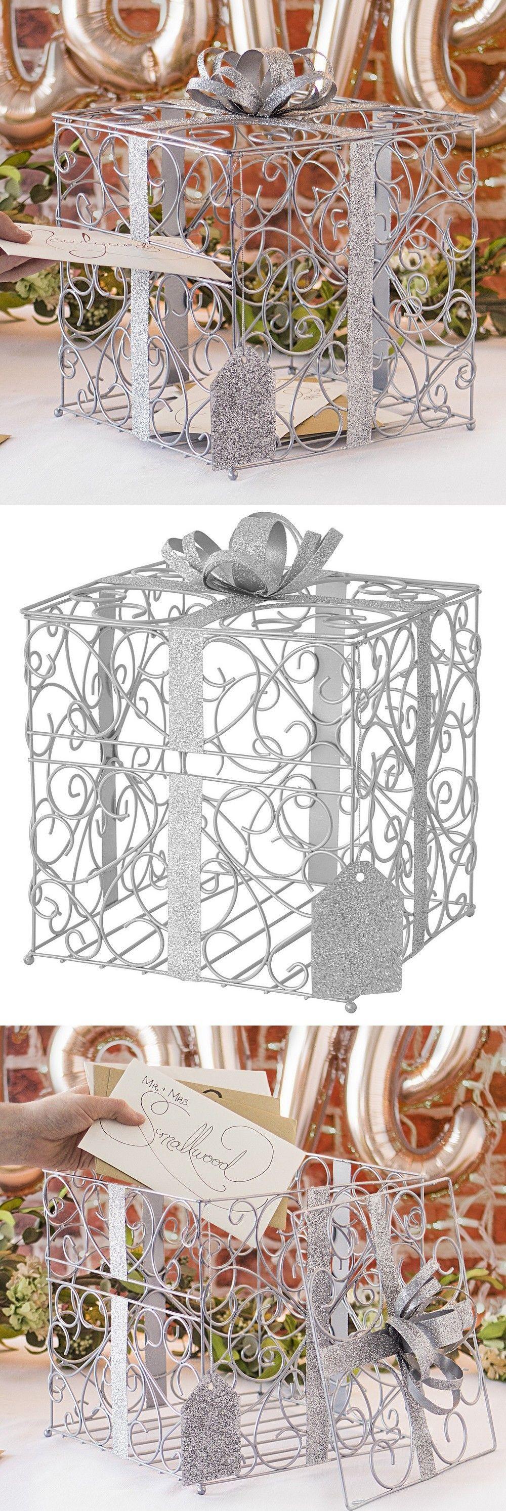 Photo of Silber Scrolled Metal Hochzeit Geschenkkarte Box