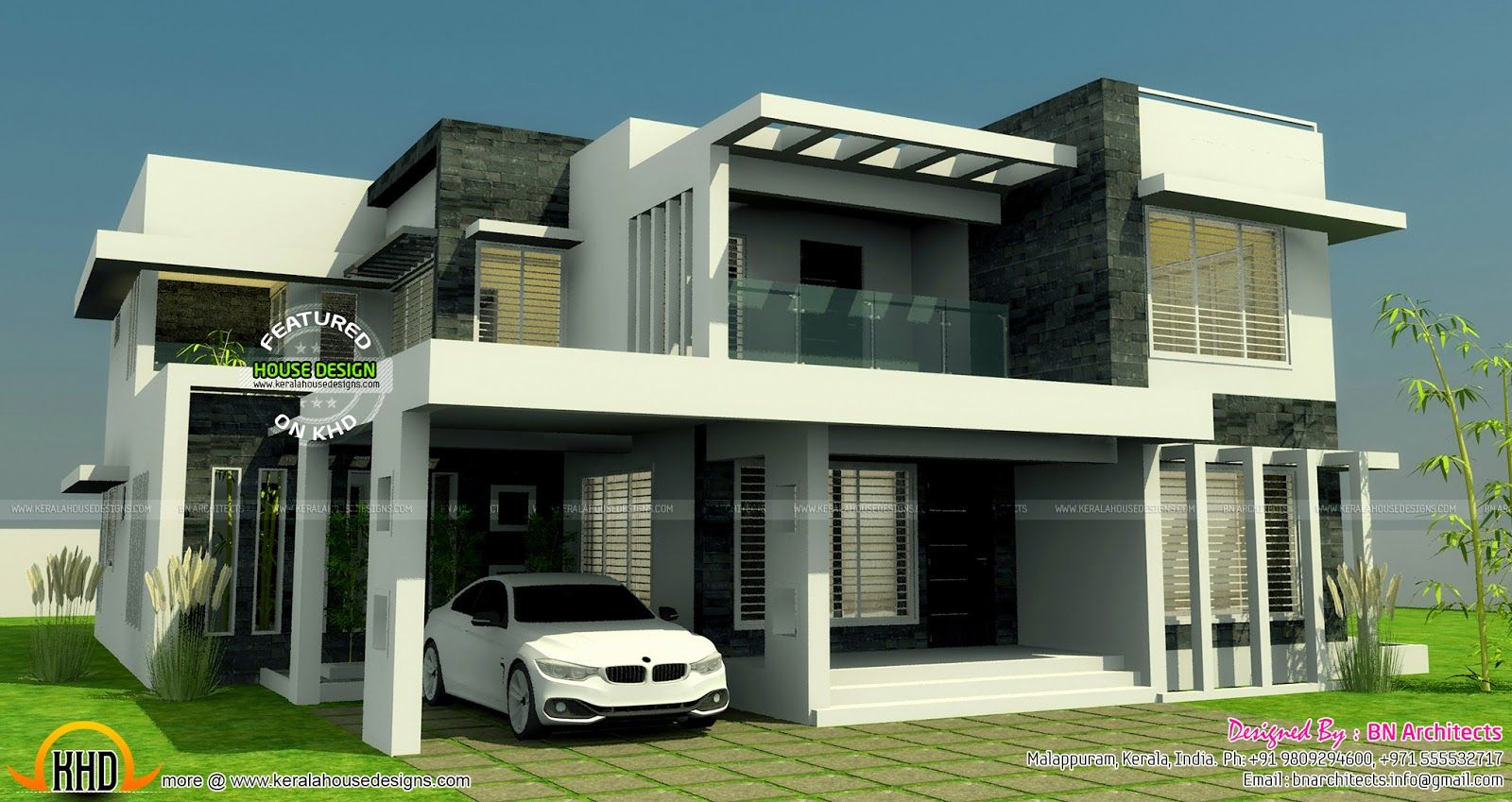 Contemporary home elevation g pinterest house for Elevation of kerala homes