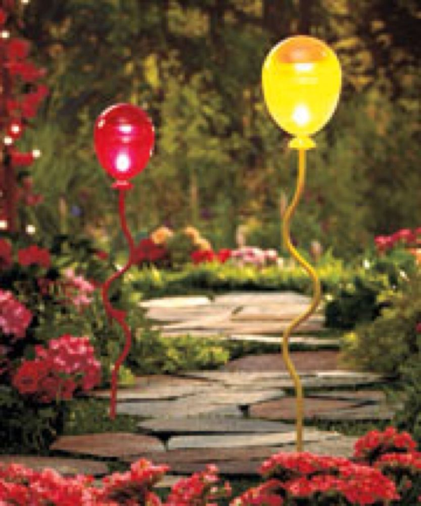 2 solar-lighted balloon stakes red & yellow garden decor path