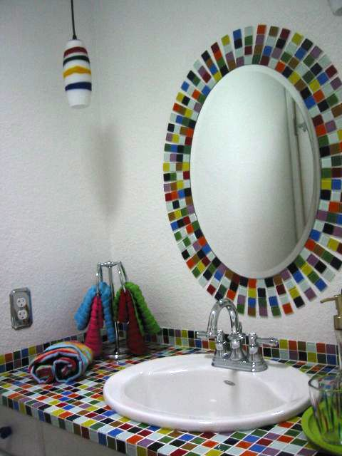 bijou multi colored glass tile bathroom sink and mirror close up