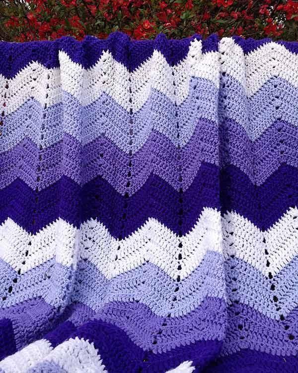 Purple Mountains Majesty Ripple Afghan Crochet Pattern   Purple ...