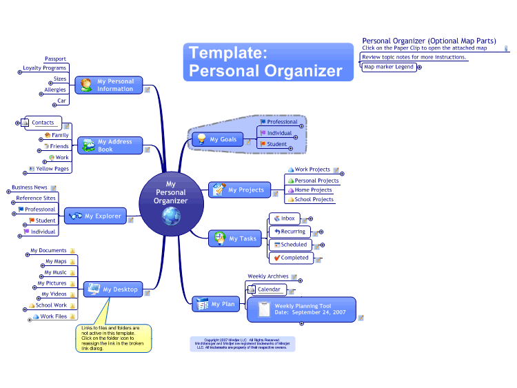 MindManager Personal Organiser Template Mind Map free mind map ... on