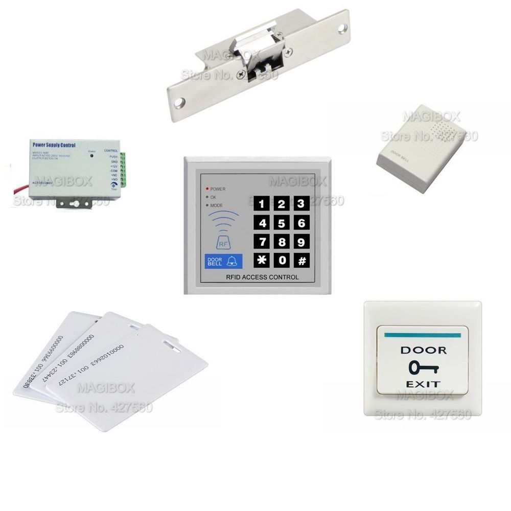 Access Control System For Frameless Glass Door Id Em Card Reader Keypad Electric Strike