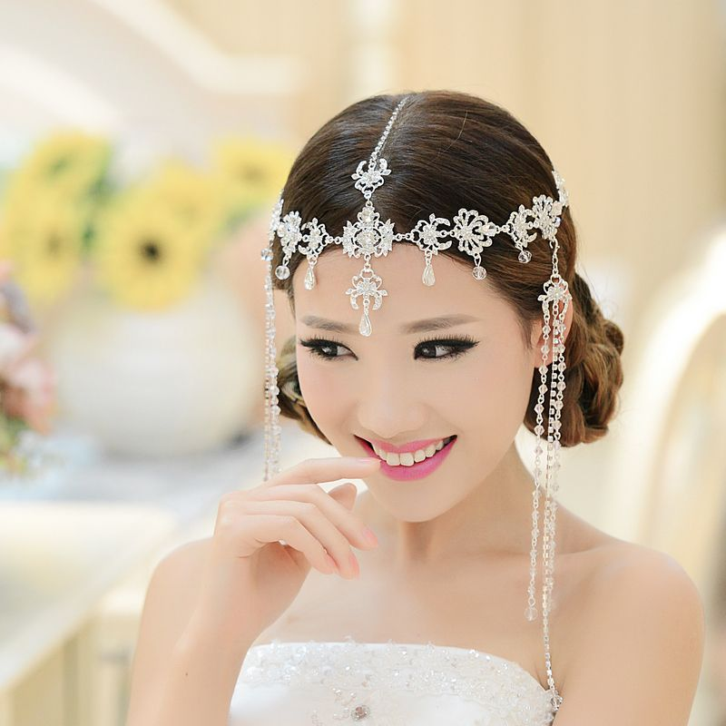Bridal wedding rhinestone tiara fringed india style hairbands