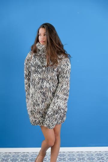 Hoodie wool dress , Beige wool sweater dress, Huge turtleneck knit dress