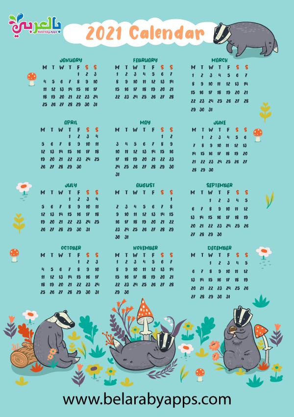 تحميل التقويم الميلادي 2021 للاطفال Pdf نتيجة العام الجديد مع خلفيات اطفال كرتون بالعربي نتعلم Cool Calendars 2021 Calendar Calendar Vector