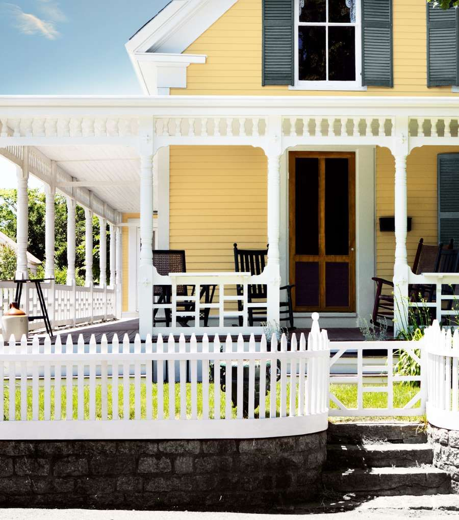 Modern Home Exterior Paint Colors: Yellow House, White Trim And Window Frames, Charcoal