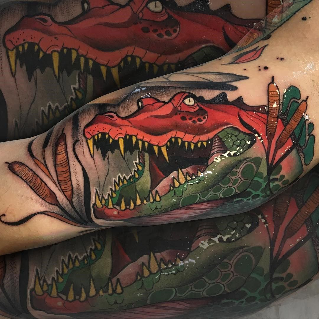 NeoTraditional Crocodile Neo traditional tattoo