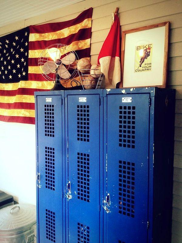 . kids room storage ideas with vintage metal lockers   Guys  Bedrooms