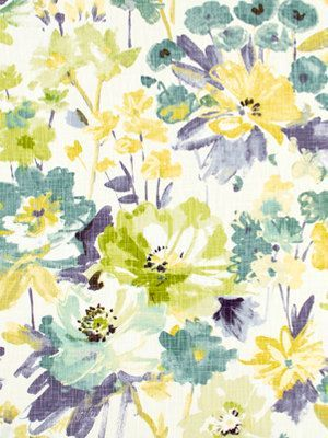 Yellow Floral Upholstery Fabric Contemporary Floral Drapery Teal