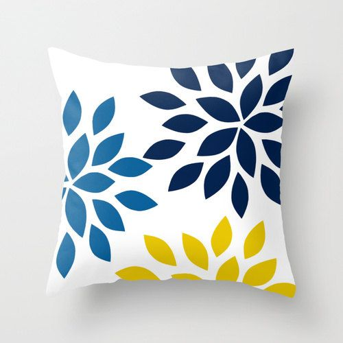 Throw Pillow Covers Navy Mustard White Cobalt by HLBhomedesigns