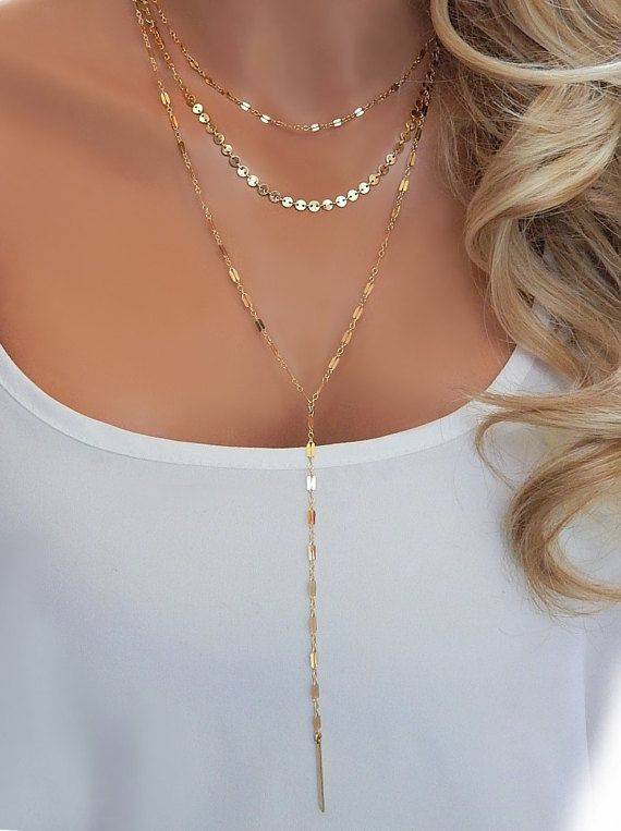 5ded3b0c2d Layered Lariat Y Necklace Choker • Multi Strand Lariat in Gold or ...