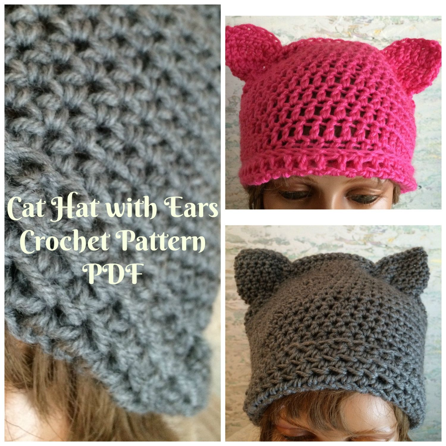 Pussy hat with shaped ears crochet pattern pussy hat pattern pdf pussy hat with shaped ears crochet pattern pussy hat pattern pdf download cat hat bankloansurffo Choice Image