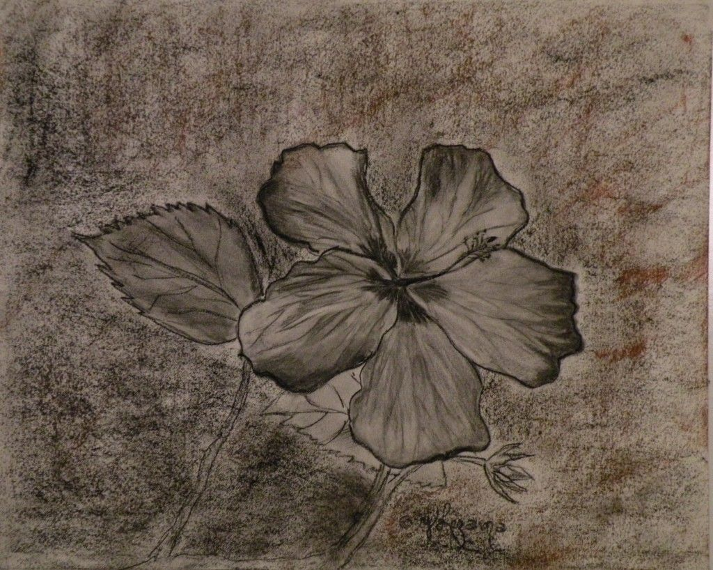 "2- Touch of a Flower- Toque de una Flor, Drawing (Charcoal and Crayons), Cold Pressed, 90lb, 11"" x 13 1/2"", Mat and Backing Board, y Lezama."