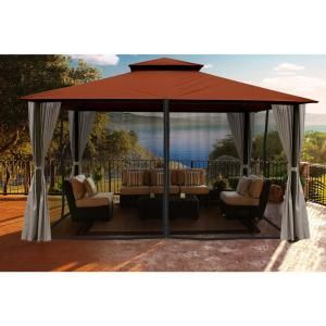 Paragon Outdoor Paragon 11 Ft X 14 Ft Gazebo With Rust Sunbrella Top And Privacy Curtain And Mosquito Netting Gz584rk2 Patio Gazebo Aluminum Gazebo Gazebo