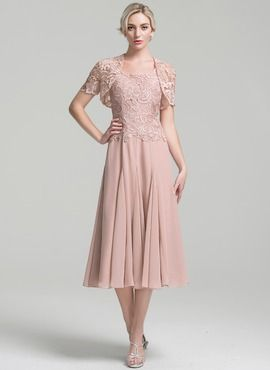 A Line Princess Square Neckline Tea Length Chiffon Mother Of The Bride Dress 008094034