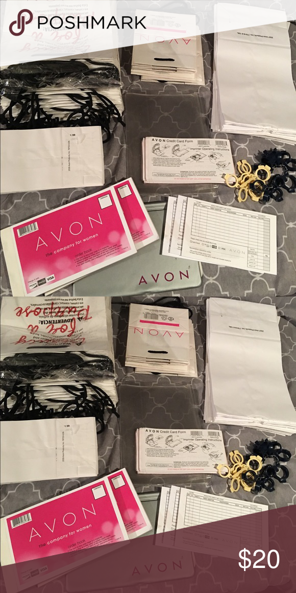 Avon Bag Bundle  Plastic Book Covers Avon And Small Bags